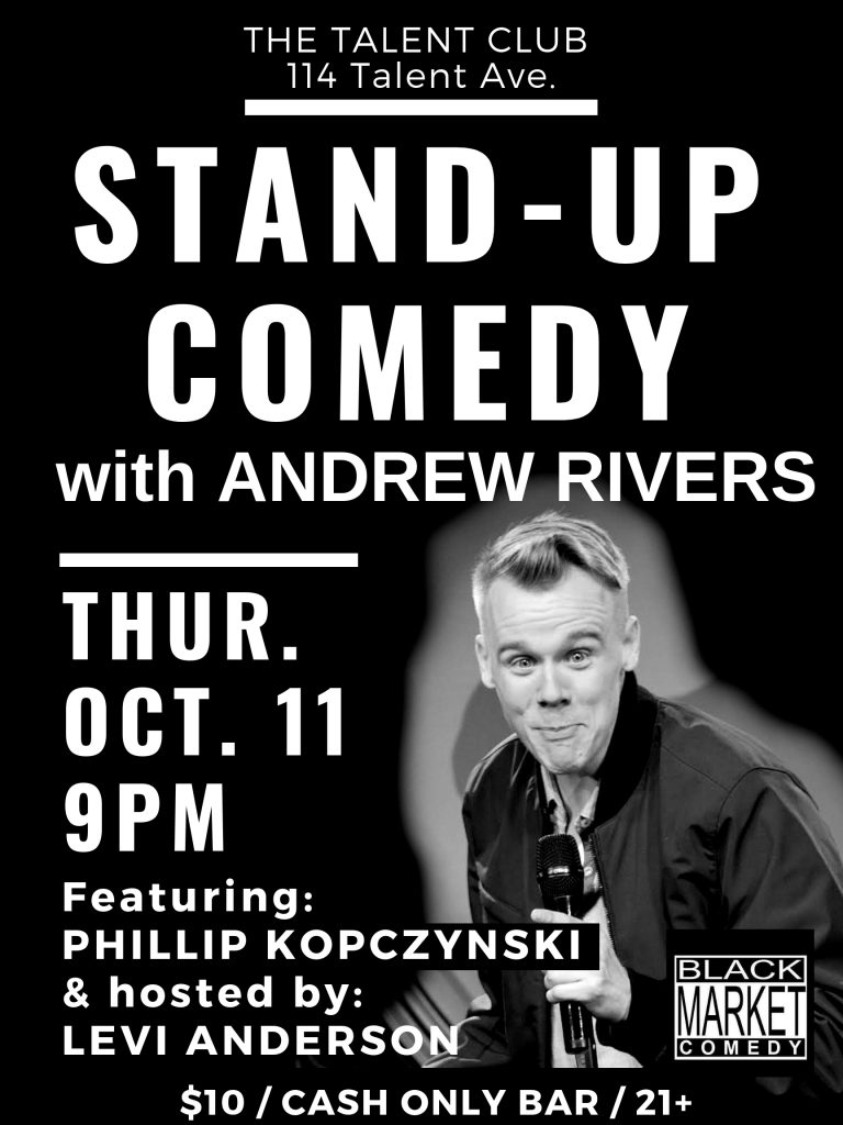 Stand-Up Comedy with Andrew Rivers, Featuring Philip Kopczynski, Thurs, October 11, 2018 at The Talent Club