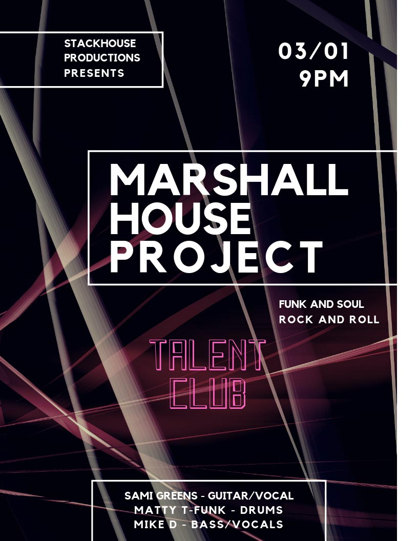 The Marshall House Project plays live at the Talent Club on March 1, 2019.