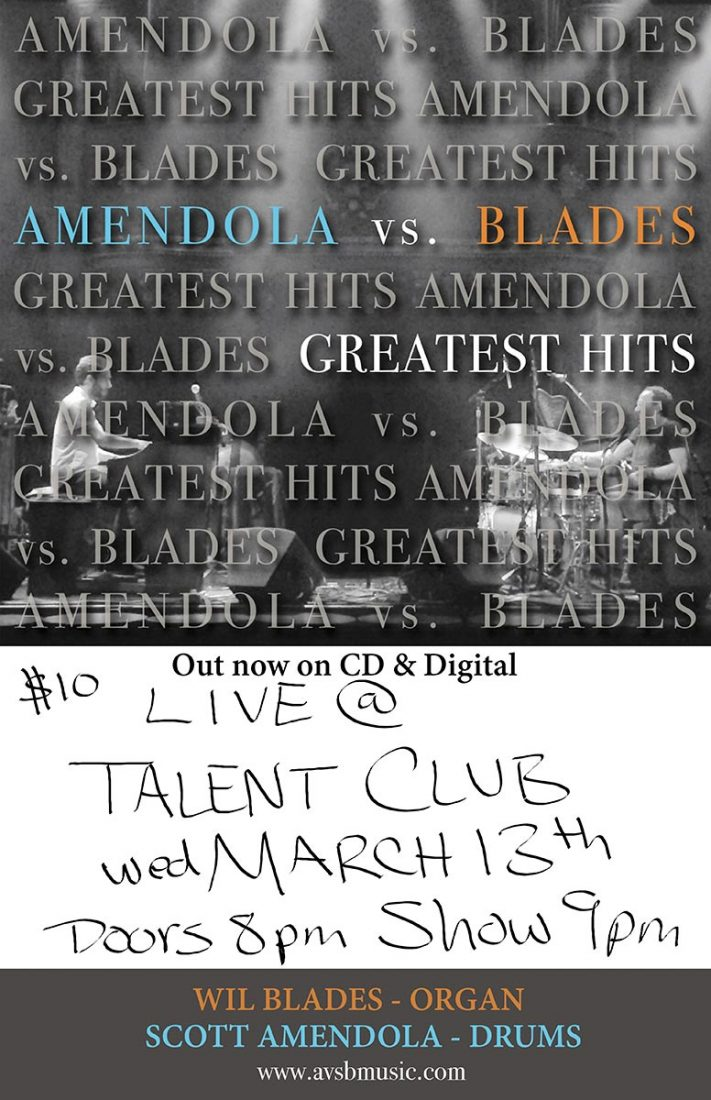 Amendola Vs Blades play live at the Talent Club on Wednesday March 13, 2019