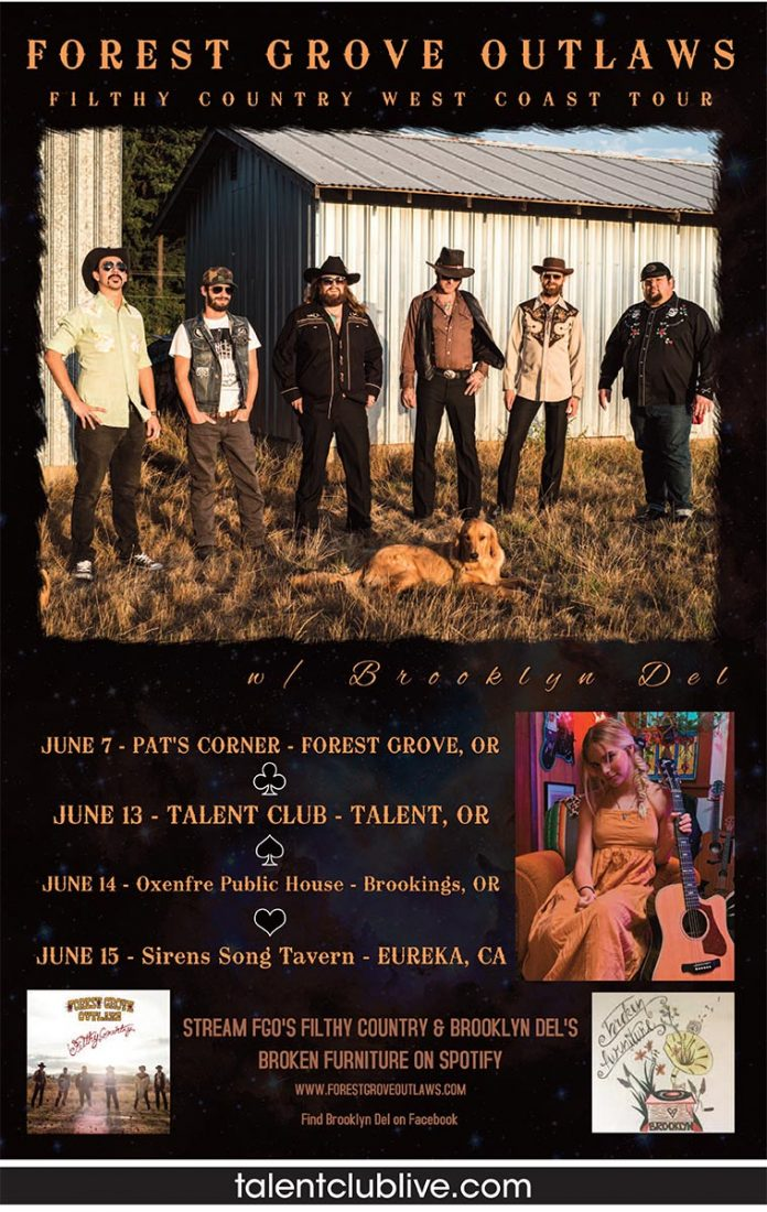 Forest Grove Outlaws play live at the Talent Club on Thursday June 13, 2019 at 9pm